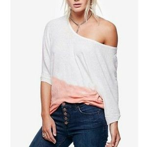 Free People | Blue Ombré Linen Slouchy Tee Blouse